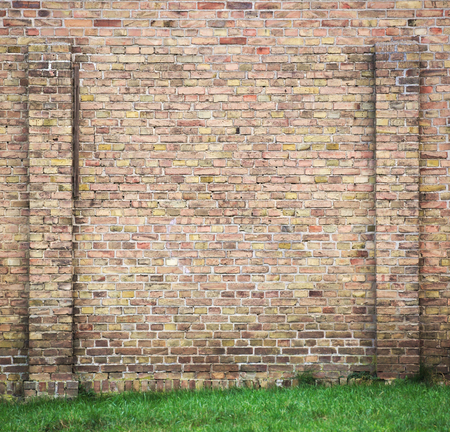 Wall background with yellow bricks and grass on the ground. photo