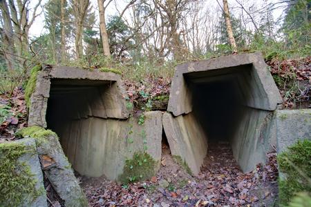 Two entrances in bunker ruins in Mecklenburg-Vorpommern, Germany. photo