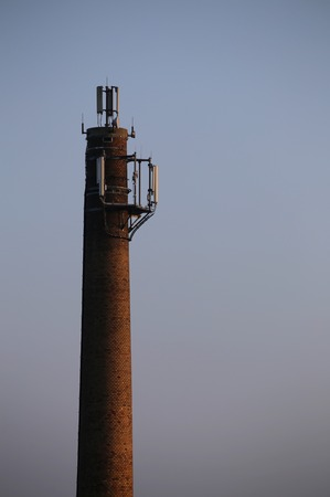 image date: Old chimney used as a base for radio transmitters.