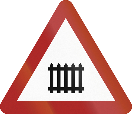 manned: Old design (1953) of a German sign indicating a manned resp. barrier railway crossing.