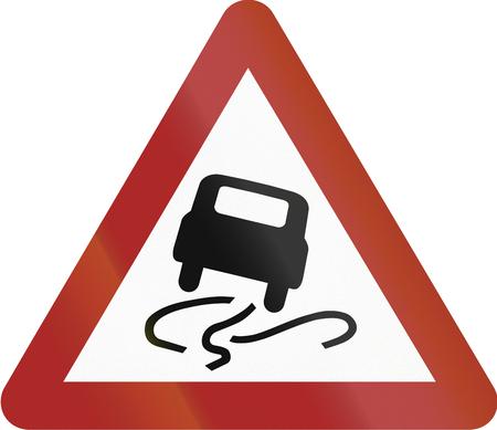 mud slide: Old design (1953) of a German sign warning about slip danger (Schleudergefahr).