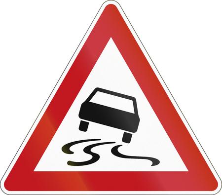 image date: German sign warning about slip danger (Schleudergefahr).