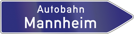 image date: Old design of a German signpost pointing to the highway. Stock Photo