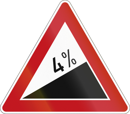 image date: German warning sign about incline.