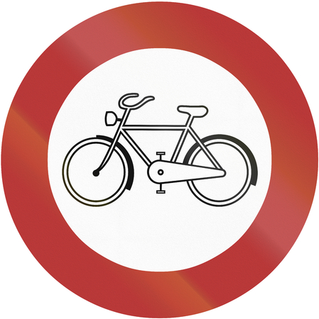 thoroughfare: Old design (1956) of German sign prohibiting thoroughfare of bicycles on sundays and public holidays.