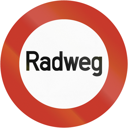 image created 21st century: Old design (1937) of a German bicycle road sign. It says: Bike road