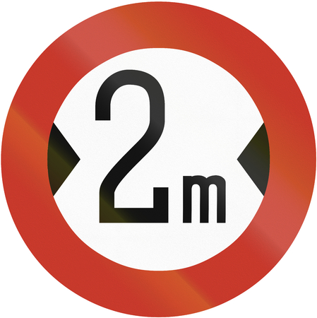 width: Old design (1937) of a German sign prohibiting thoroughfare of vehicles with a width over 2 meters.