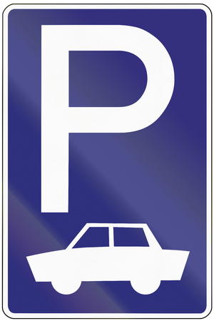 close p: Old design (1971) of a German sign on a parking place for cars. Stock Photo