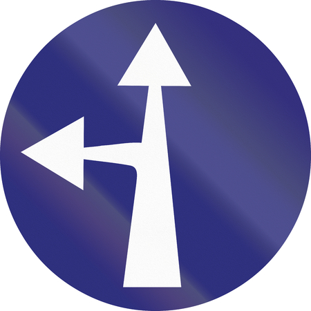 restricting: Old design (1956) of a German sign restricting the driving direction to straight forward or left.
