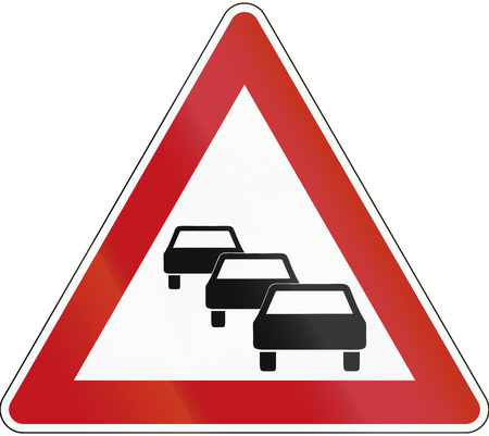 German sign warning about likeliness of traffic queues. photo