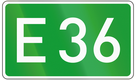 number 36: European road number sign for E36.