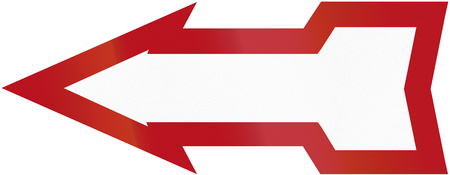 red handed: Old design (1934) of a German direction sign pointing to the left.