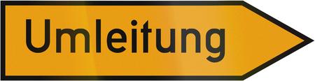 Old design (1954) of a German detour sign. Umleitung means detourroute diversion.