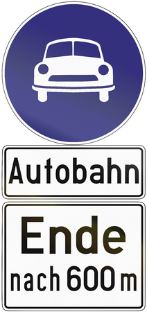 autobahn: Old design (1971) of a German sign indicating the end of an autobahn after 600 meters. The text says: Autobahn - End after 600 m