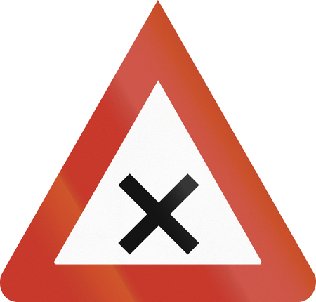 image created 21st century: Old design (1937) of a German sign warning about crossroads.