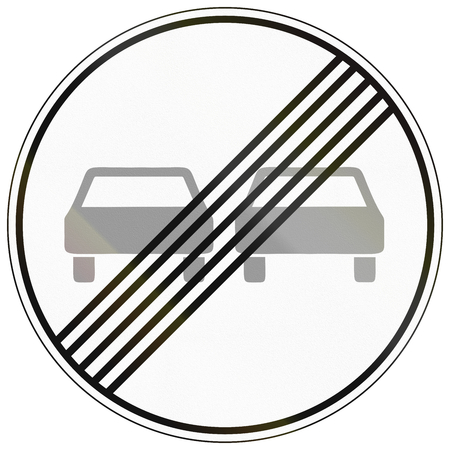 overtaking: German traffic sign: End of no overtaking zone. Stock Photo