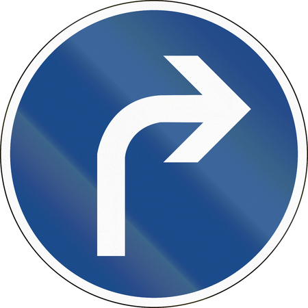 image date: German traffic sign: Turn right ahead Stock Photo