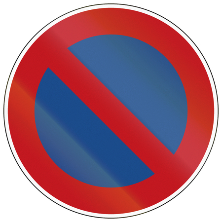 image created 21st century: German traffic sign: No parking along carriageway.