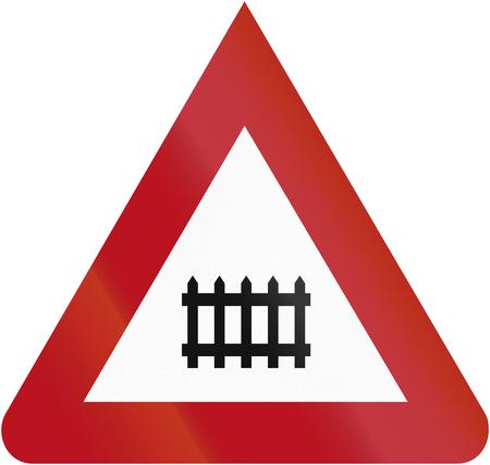 acute angle: Dise�o del Viejo (1927) de un signo alem�n indica un cruce de trenes tripulados.
