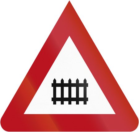 manned: Old design (1927) of a German sign indicating a manned railway crossing. Stock Photo