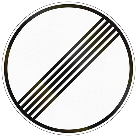 German traffic sign: End of all speed and passing limits. Stock Photo