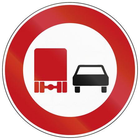 overtaking: German traffic sign: No overtaking by lorries! Stock Photo