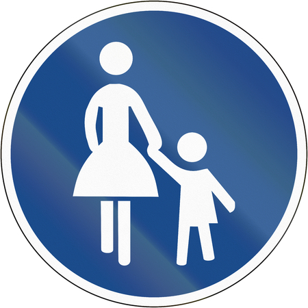 mother in law: German sign at a pedestrian lane depicting mother and child. Stock Photo