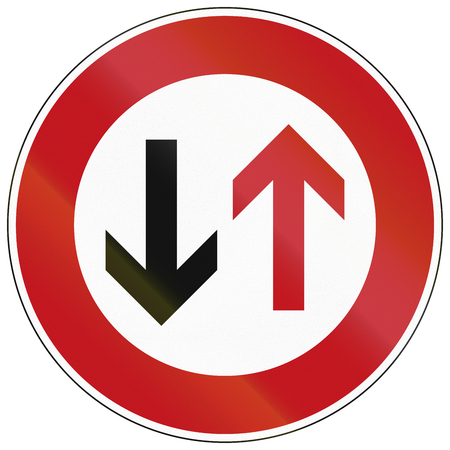 traffic rules: German traffic sign indicating that oncoming traffic has priority.