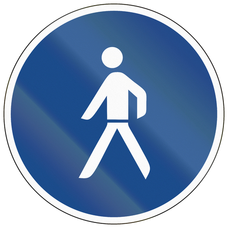 one lane sign: German sign at a pedestrian lane depicting a single person.