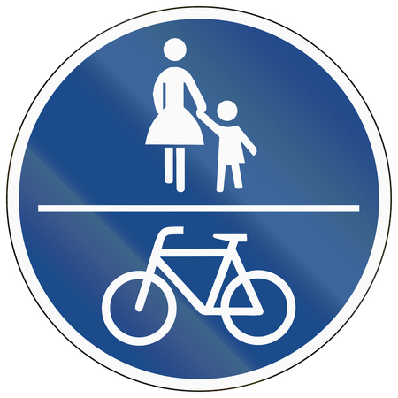 image created 21st century: German traffic sign on a shared-use path. Stock Photo