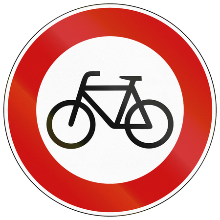 image created 21st century: German traffic sign prohibiting thoroughfare of bicyles. Stock Photo