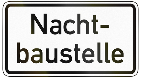 image date: German traffic sign additional panel to specify the meaning of other signs: Night construction site. Stock Photo