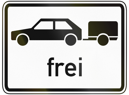 specify: German traffic sign additional panel to specify the meaning of other signs: Cars with trailer allowed.