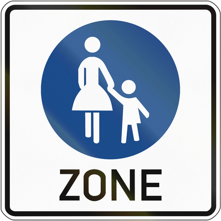 image created 21st century: German sign at a pedestrian zone depicting mother and child. Stock Photo