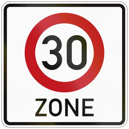 트래픽이 감소하고 시속 30 킬로미터의 속도 제한이있는 구역을 나타내는 독일어 교통 표지.
