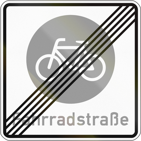 means to an end: German sign at the end of a bicycle road, the word means: Bicycle road.