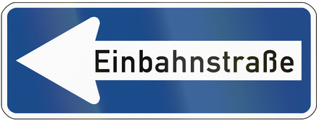 image created 21st century: German traffic sign: EinbahnstrasseOne-way road, pointing to the left. Stock Photo