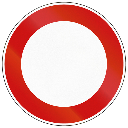eg: German sign prohibiting thoroughfare for all vehicles. This image can be used as template e.g. for many prohibition signs.