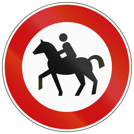 thoroughfare: German traffic sign prohibiting thoroughfare of equestrians.