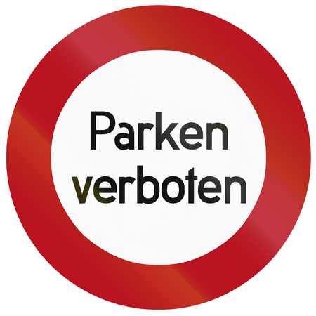 se�al parking: Dise�o del Viejo (1934) de un Parkverbot  ninguna muestra del estacionamiento alem�n. Parken significa verboten estacionamiento prohibido.