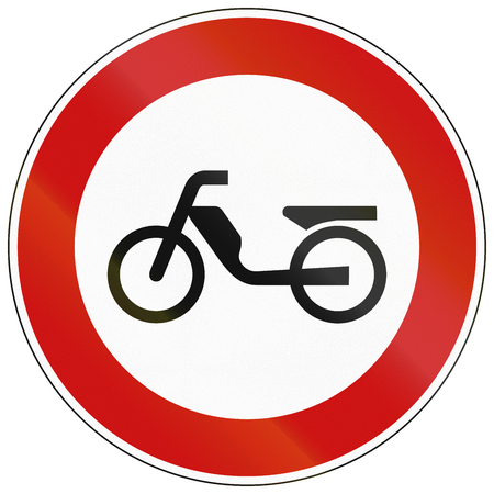mopeds: German traffic sign prohibiting thoroughfare of mopeds.