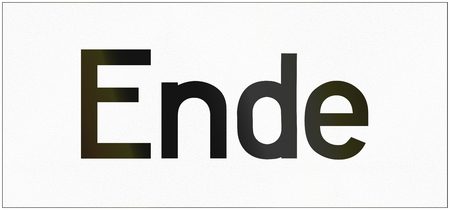image date: German traffic sign additional panel to specify the meaning of other signs: End.