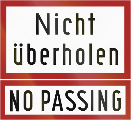 German traffic sign additional panel from 1953: Nicht ueberholenNo Passing. photo
