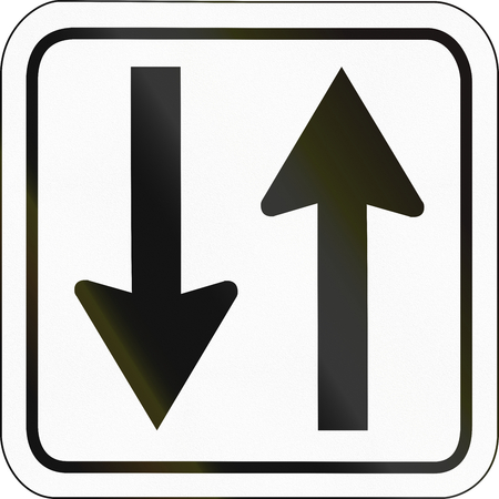 specify: German traffic sign additional panel to specify the meaning of other signs: Parallel to the road. Stock Photo