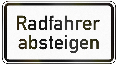 specify: German traffic sign additional panel to specify the meaning of other signs: Cyclists dismount.