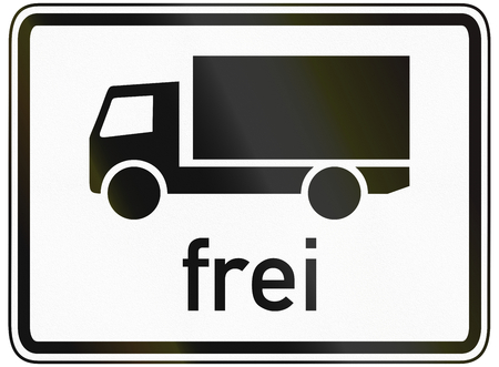 specify: German traffic sign additional panel to specify the meaning of other signs: Lorries allowed. Stock Photo