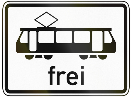 specify: German traffic sign additional panel to specify the meaning of other signs: Trams allowed. Stock Photo
