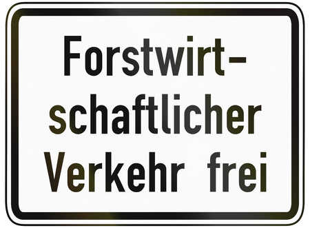 specify: German traffic sign additional panel to specify the meaning of other signs: Forestry vehicles allowed.