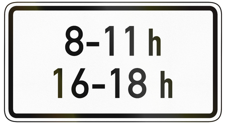 specify: German traffic sign additional panel to specify the meaning of other signs: At times shown, i.e. 8:00 to 11:00 and 16:00 to 18:00. Stock Photo