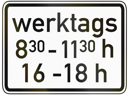 specify: German traffic sign additional panel to specify the meaning of other signs: On work days between 8:30 and 11:30 and between 16:00 and 18:00.